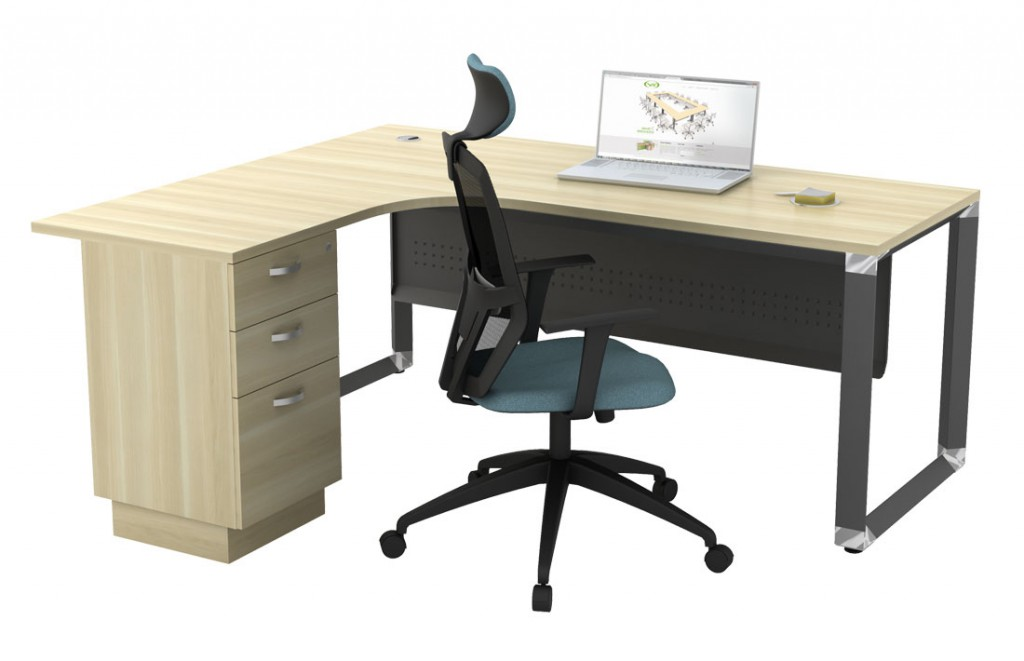 With our O leg L shape table, you may ease your mind when you want to piece together a long length, sprawling desk. This will work beautifully, instant expansion.