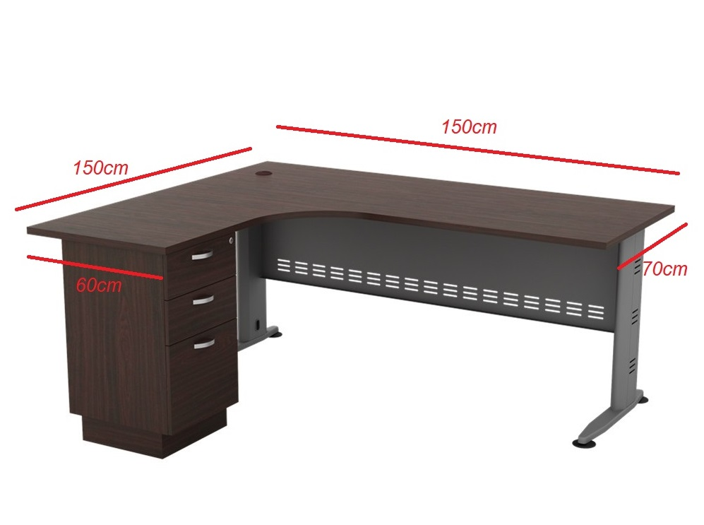 L Shape Table with 3 Drawer